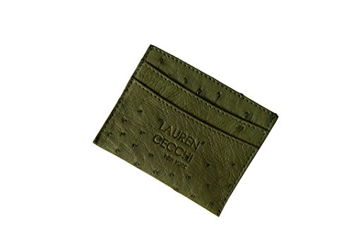 Lauren Cecchi New York Ostrich Cardholder Credit Card, Money, and ID Holder | Perfect Organizer for Women | Lightweight to Carry Accessories (Army Green) by Lauren Cecchi New York