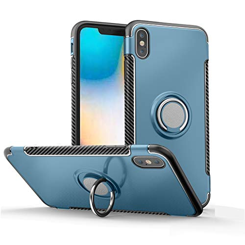Orzero TPU + PC Hybrid Dual Layer Case for iPhone Xs MAX Full Body Heavy Duty Protection 360 Rotating Metal Hidden Ring Kickstand [Adsorbed Iron Plate]-Navy