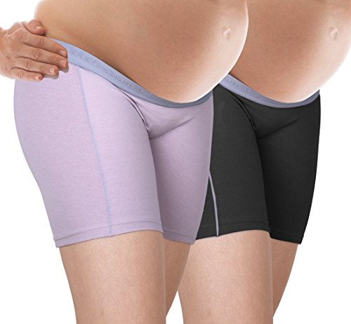 Maternity Boyshort (Intimate Portal Women Under The Bump Anti Chafing Maternity Shorts Pregnancy Boyshorts 2-PK Black Purple L)