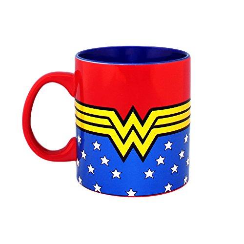 DC Comics WW9034 Wonder Woman Logo Wrap Around with Stars Jumbo Ceramic Mug, 20-Ounces, Multicolor (Ceramic Jumbo Mug)