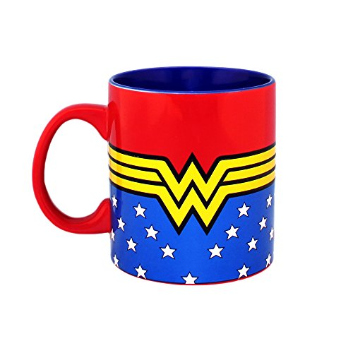 DC Comics WW9034 Wonder Woman Logo Wrap Around with Stars Jumbo Ceramic Mug, 20-Ounces, Multicolor
