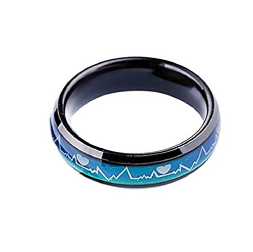 Starryinter 6mm Stainless Steel Unisex/Couple Color-changing Heartbeat Pattern Mood Ring-CR158 (black inside size - Free Rings Mood