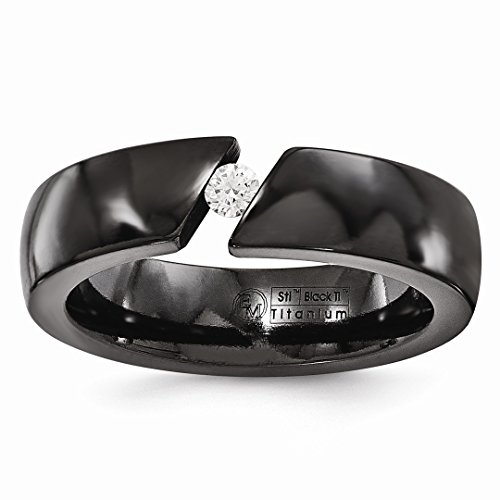 ICE CARATS Edward Mirell Black Titanium .10ct Diamond 6mm Wedding Ring Band Size 12.50 Man Fashion Jewelry Dad Mens Gift (6mm Faceted Band Gemstone Ring)