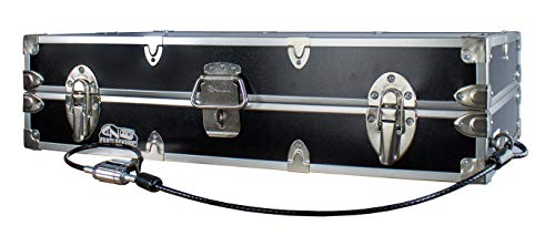 C&N Footlockers College Dorm Room Under Bed - The Slim Lockable Trunk - 32 x 18 x 8.25 Inches - Includes Anchoring Cable Lock - Pre-drilled Whole