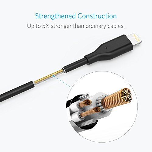 [2-Pack] Anker PowerLine 4 Inches Lightning Cable, Apple MFi Certified Lightning to USB Charging Cable for iPhone X / 8 / 8 Plus / 7 / 7 Plus / 6 / 6s Plus, iPad mini / Air / Pro iPod touch (Black) by Anker (Image #3)