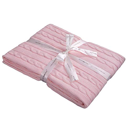 "NTBAY 100% Cotton Cable Knit Toddler Blanket Throw Blanket Super Soft Warm Multi Color, 30""x 40"", Baby Pink from NTBAY"