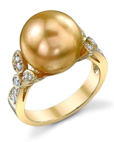 12mm Golden South Sea Cultured Pearl & Diamond Ariella Ring in 18K (12mm Diamond Pearl)