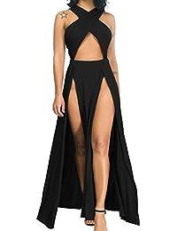 617bb6b725a Women Sexy Hollow Out Halter Wrap Sleeveless Plain Pleated Slit Casual Long  Maxi Dress