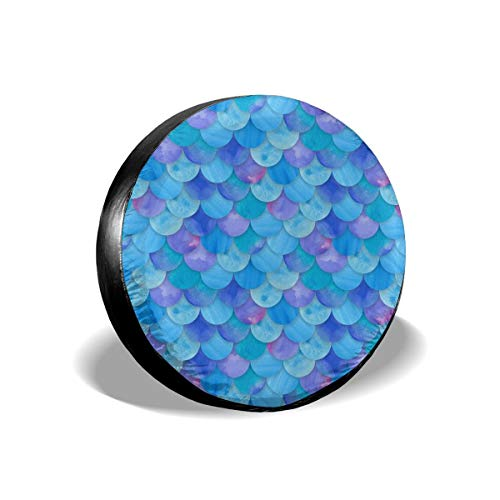 Art-Capital Spare Tire Cover Watercolor Blue Mermaid Scales Tire Cover Waterproof Potable Spare Wheel Cover Universal Fit for Jeep Car Trailer RV SUV Truck Camper Van 14