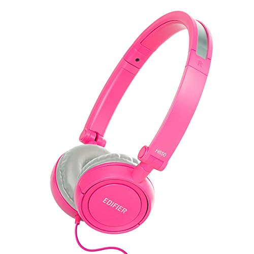 Edifier H650 Hi-Fi On-Ear Headphones - Noise-isolating Foldable and Lightweight Headphone - Fit Adults and Kids - Pink