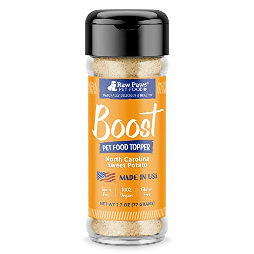 Raw Paws Boost Flavor & Nutrition Pet Food Topper, Sweet Potato, 2.7-oz - Made in USA - Dog Food Toppers Grain Free - Natural Pet Food Flavoring - Cat Food Seasoning - Vegan Meal Enhancer Sprinkles
