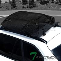 "Topline Autopart 50"" Universal Black Square Window Frame Aluminum Roof Rail Rack Cross Bars + Cargo Carrier Waterproof Utility Bag"