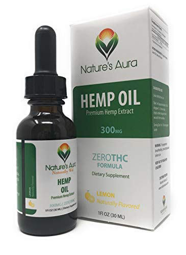Nature's Aura Hemp Oil for Pain and Stress Relief, Delicious Lemon Flavor, Satisfaction Guaranteed - 1 Fl Oz (30 ml) ()