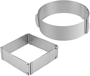 MOTZU 2 Pieces Cake Mold, Stainless Steel Mousse Cake Rings, Adjustable Mould, Cake Baking Cake Decor Mold Ring, Cake Collar, Chocolate and Cake Decorating Roll(Square + Round), 6-12 Inch