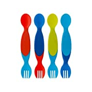 The First Years Two for One Toddler Utensils ,Colors May Vary (Pack of 4)
