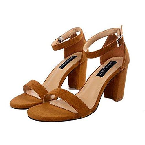 RUGAI-UE Damen Sandalen Sommer europäische Schuhe Mode Wildleder High Heels.