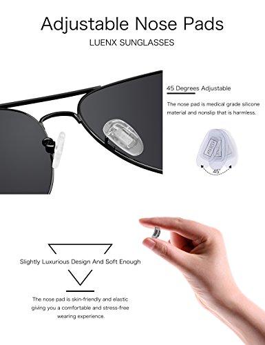 52af9da202 ... LUENX Aviator Sunglasses Mens Womens Polarized with Case - UV 400 Non  Mirror Black Lens Black ...