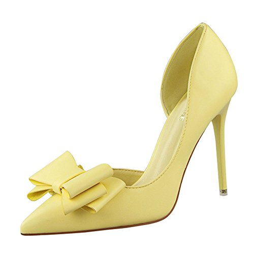 n Solid Sweet Bowknot Sexy Stilettos High Heels Shoes Casual Pointed Toe Pumps Shoes Single Shoes ()