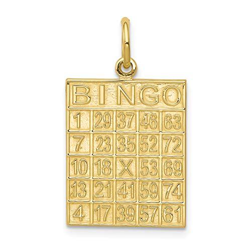 (Mireval 10k Yellow Gold Solid Bingo Card Charm (15 x 25)