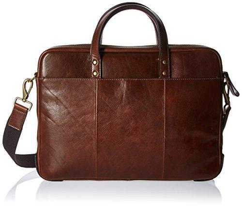 Fossil Mens Haskell Single Zip Workbag Cognac