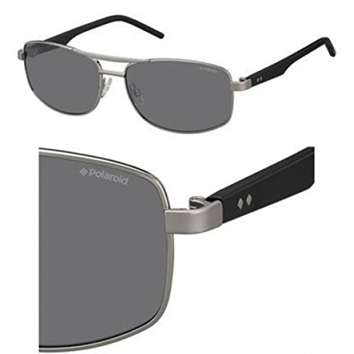 (Polaroid Sunglasses Men's Pld2040s Rectangular, Ruthenium Black/Gray Polarized, 59 mm)