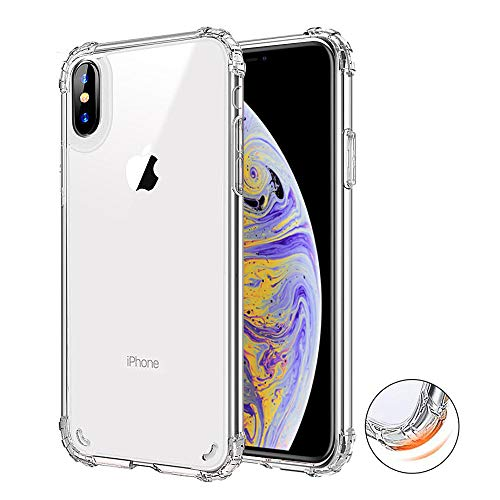 KAMII iPhone Xs MAX Case, Crystal Clear Reinforced Corners TPU Bumper Hard Clear PC Back Shell Hybrid Rugged Anti-Scratch Ultra-Thin Impact Resistant Transparent Cover Apple iPhone Xs Max 6.5