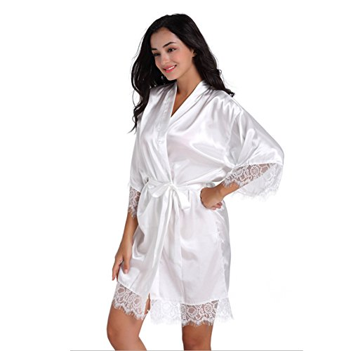 SexyTown Women's Short Satin Lounge Robes Bridesmaids Charmeuse Lingerie Sleepwear (X-Small, White Lace) ()