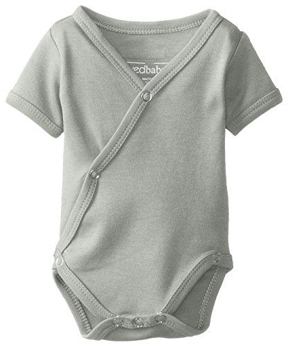 Organic Cotton Kimono Onesie - L'ovedbaby Unisex-Baby Organic Cotton Kimono Short Sleeve Bodysuit, Seafoam, 3/6 Months