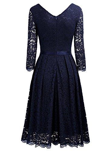 A MIUSOL Vintage Blu Vestito Pizzo Donna Corta line Coctel 1950s rrPwZO