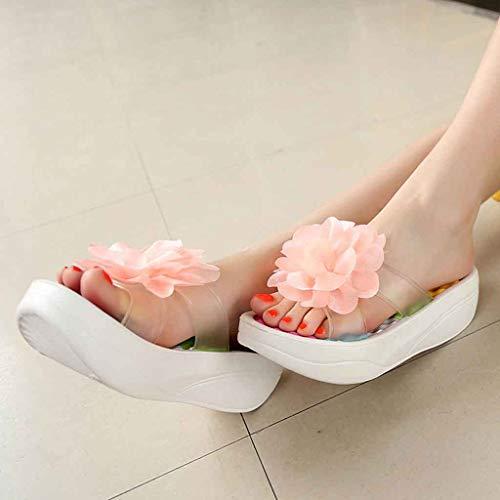 Fleur Sandales Tongs Balançoire Chaussures Pantoufles forme Plate Plates,❤femmes Antidérapant Compensé Femmes Été Blanc Talon Plateforme Fond Accueil Épais Coin Trou qr7tBrUw