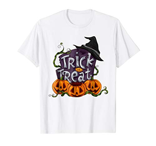 Trick Or Treat Halloween Shirt Pumkins Witch Hat