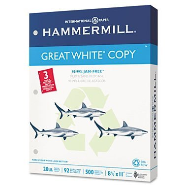 hammermill Great White Recycled Copy 3-Hole Punched, 92 Brightness, 20lb, Letter, 5000/Ctn