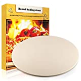 JulyPanny Pizza Stone, Ceramic Pizza Grilling Stone/Baking Stone/Pizza Pan, Perfect Baking Tools for BBQ and Grill - Thermal Shock Resistant, Durable and Safe Stone, 15'' Round and 0.47'' Thick