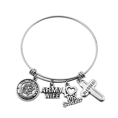 - Gzrlyf Military Mom/Wife Bracelet Expandable Wire Bangle Jewelry Gifts for Women (Army Wife Bracelet)