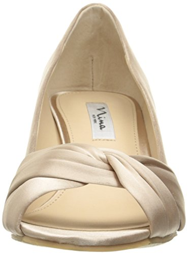 Nina Champ Satin Pump Wedge Edelia Women's Luster ZZnqPS6Rx