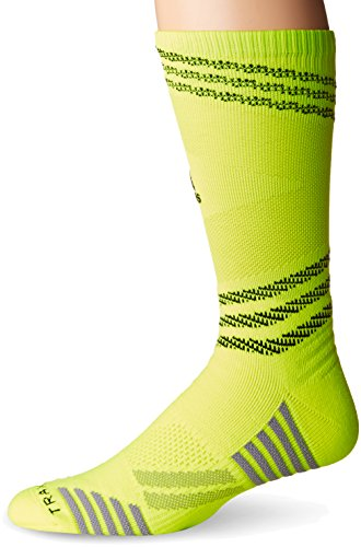adidas Speed Mesh Basketball/Football Team Crew Socks (1-Pack), Solar Yellow/Black/Solar Slime, -