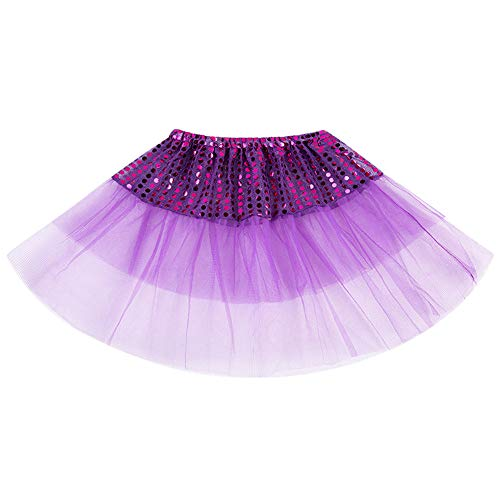 Todder Girls Sequins Mesh Patchwork Ballet Tutu Princess Party Skirt Costume (Purple,)