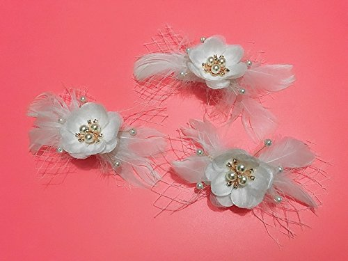 usongs New handmade feather gauze pearl butterfly fairy section clip bridal hair accessories hairpin jewelry accessories