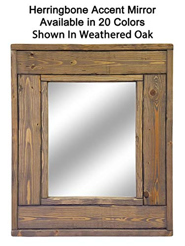 Herringbone Small Accent Mirror - Decorative Wall Mirror - Available in 20 Colors: Weathered Oak - Wall Art Mirror - Rustic Wall Mirror - Shabby Chic Framed Wood Mirror - Wall Decor