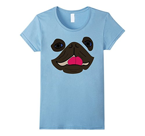 Womens Pug Dog Emoji Halloween Costume Dog Face Tongue Out Emoji XL Baby Blue