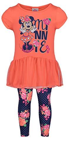 (Disney (974656MIS) Girls' Minnie Mouse Short-Sleeve Fashion Shirt & Capri Legging Outfit Set 4-6X in Roses,)