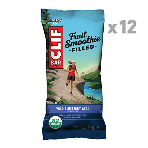 CLIF Fruit Smoothie Filled - Organic Energy Bars - Wild Blueberry Acai - (1.76 Ounce Protein Snack Bars, 12 Count)