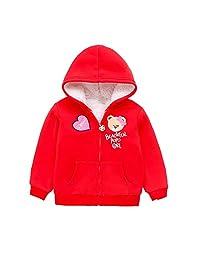 Baby Girls Sherpa Fleece Zipper Up Hooides Jacket Autumn Winter Kids Warm Lining Sweatshirt Outwear Coat