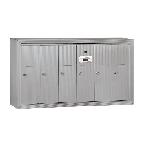 Salsbury Industries 3506ASU Surface Mounted Vertical Mailbox with 6 Doors and USPS Access, Aluminum Apartment Mailboxes