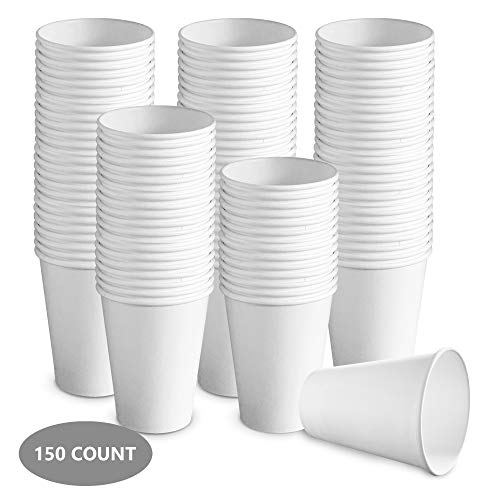 150 count 12 oz White Paper Hot Cups | Disposable Coffee Cups, Party Cups for Hot and Cold Drinks
