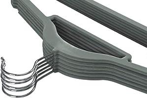 Pack of 50 Heavy Duty Non Slip Velvet Suit Hangers with Tie Bar Utopia Home Premium Velvet Hangers Grey