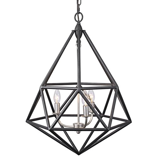 (Varaluz 236P03FIS Facet 3-Light Pendant - Forged Iron with Silver Leaf Finish)