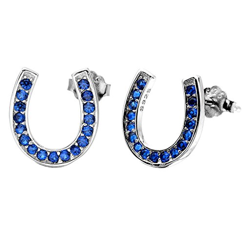 ing Silver Elegant Pave Cubic Zirconia Lucky Horseshoe Stud Earrings Blue (Girls Horseshoe)