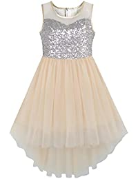 Girls Dress Sequin Mesh Party Wedding Princess Tulle
