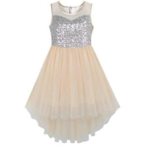 KB24 Girls Dress Beige Sequined Tulle Hi-lo Wedding Party Dress Size 12 -